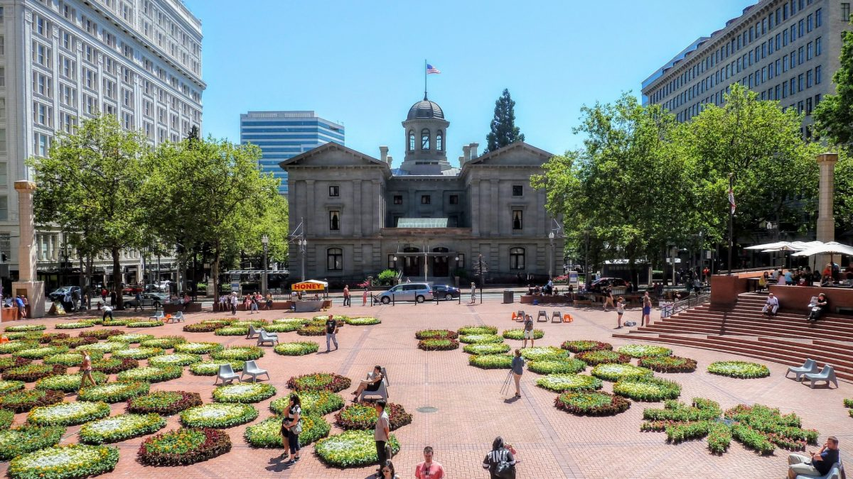 Pioneer Square en Portland Downtown