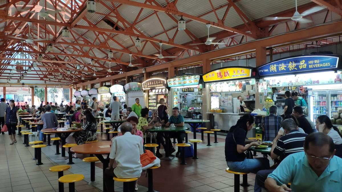 Maxwell Food Centre en Chinatown, Singapur