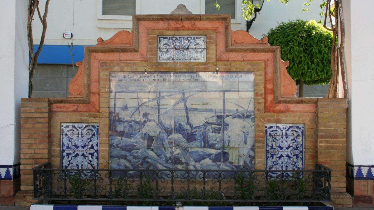 """Azulejo que representa la pintura """"Ayamonte"""" de Sorolla"""