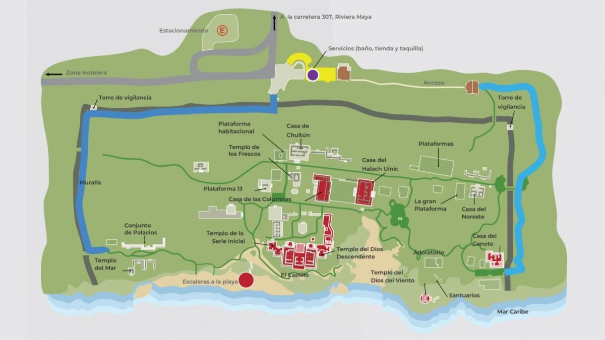 Mapa de la Zona Arqueológica de Tulum