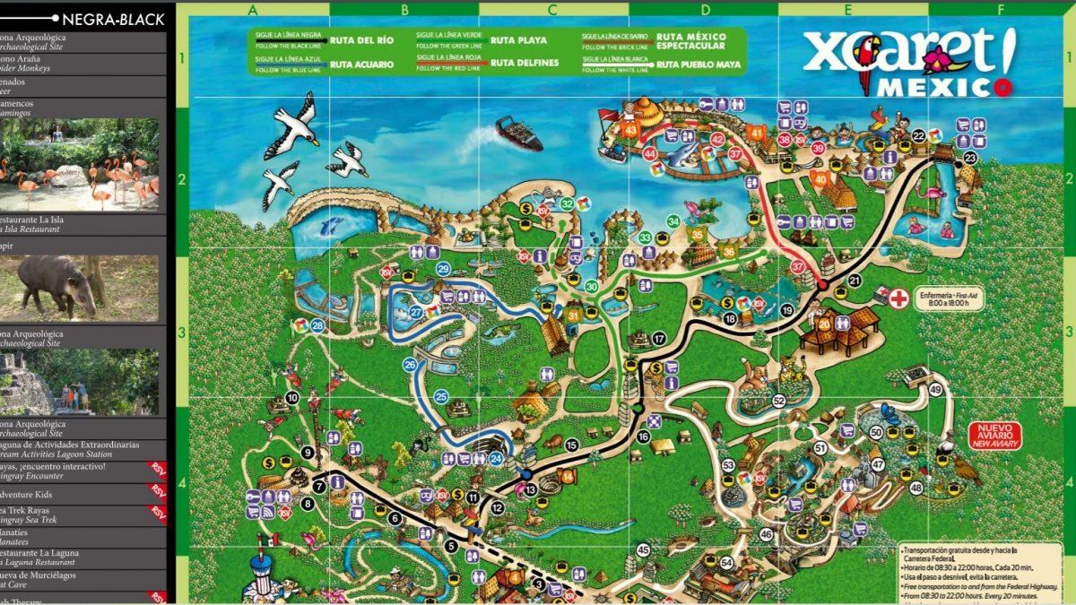 Mapa del Parque Xcaret